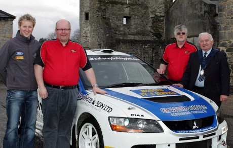 START YOUR ENGINES... l-r: Alistair Fisher,Lewis Boyd (Clerk of the Course) Alan Elliott (Ulster Rally) and Enniskillen Council Vice Chairman, Councillor Harold Andrews.