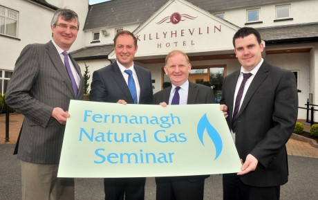 Pictured at the natural Gas Seminar in the Killyhelvin Hotel are from leftTom Elliott MLA UUP, Alastair Pollock Phoenix Natural Gas Maurice Morrow MLA  DUP and Phil Flanagan MLA Sinn Fein