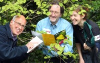 Richard Weyl of the Northern Ireland Environment Agency, Dr Jim McGreevy of National Museums Northern Ireland  and Catherine Bertrand from Butterfly Conservation Northern Ireland get ready for a Bioblitz at Colebrooke Estate in Fermanagh