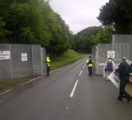 The view at the G8 fence where protesters will march. Also in the photograph is Toyoshige Sekiguchi, the anti-capitalist Buddhist monk