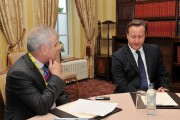 Ray Sanderson,  deputy editor of the Fermanagh Herald interviewing the Prime minister David Cameron at the Lough Erne Resort