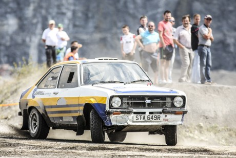 Declan Campbell broadsliding in his 2 litre Ford Escort Mark 2