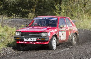 Shane McGirr and Jackie Elliott (Fivemiletown) in their red Toyota Starlet.