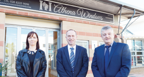 Proprietor of Athena Windows, Colm O'Neill (centre) with members of the team, Ciara Harvey (customer service manager) and Brian Colton (sales consultant).