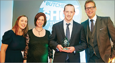 Kieran Meehan, proprietor of Clogher Valley Meats, receives Northern Ireland Best Butcher's Shop of the Year 2014 award from Sky Sports star Ed Chamberlin, Rosewood London Hotel.