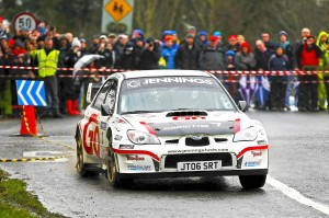Garry Jennings and Rory Kennedy in action at the Birr Stages in their Subaru Impreza.