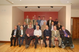 Pictured at the recent Knocks 1964 reunion were: Back l-r – Anthony Cannon, Hubert McDonald, Paul McManus - standing in for Eamon McManus RIP, Michael Maguire - standing in for Tony Maguire RIP, Jimmy Lynch. Middle, Tom Maguire, Seamus McBrien, Vincie Murray, Tom Rice, Paddy Brady, Noel McElroy, Louise Rice - standing in for Louis Leonard RIP. Front, Vincie Swift, Jimmy McCabe, Kevin McManus, Michael McManus -captain, Francie Treacy, Pat Treacy and Noel McCaffrey.