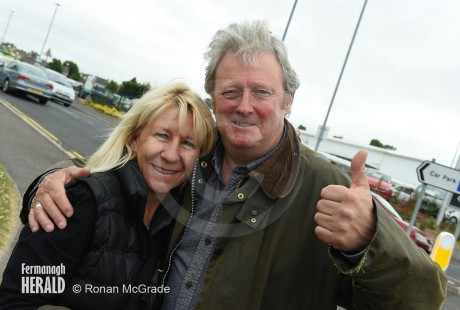 Coronation Street star Charlie Lawson and his partner Debbie give Fermanagh the thumbs up    Picture by Ronan McGrade