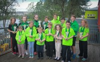 The top girl and boy in each age group, from left, Ellie McCartney, Annie Fowler, Sorcha Lavelle, Isobel Lannon, Niamh O'Kane, Nial Bruce, Oisin McCaffrey McManus, Jamie Lannon, Dara McGandy, Eve Barrett, Ben Lynch, Kealan McShea, and Caitlin O'Hare.