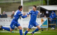 Ballinamallard goalscorer Liam Martin is congratulated by team-mate James McKenna however the celebrations are shortlived    RMGFH117