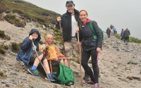 Pascal and Dympna Manley with their kids Oisin and Blathnaid from Roslea Co. Fermanagh on their way to the summit of Croagh Patrick on reek Sunday    Pic Conor McKeown