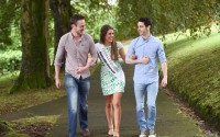 The current Fermanagh Rose, Aoife McCann, puts Paul McDonagh and Andrew Toye through their paces ahead of this years Rose of Tralee.  The two Fermanagh lads will be escorting contestants at this years competition    RMGFH181