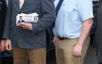 Tom Elliott MP and newly appointed MLA Neil Somerville pictured canvassing during Tom Elliott's campaign trail for Westminster    RMGFH104
