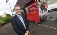 Councillor David Mahon outside his mobile office in Lack recently    RMGFH34