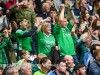 The Fermanagh fans cheer the team on as they gather momentum near the end of the game    RMGFH25