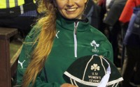 Kathryn Dane who recieved her Irish U18 Women's Sevens cap at the Ireland v England  ladies match in Ashbourne.  Ireland went on to beat England 11 - 8.   SH