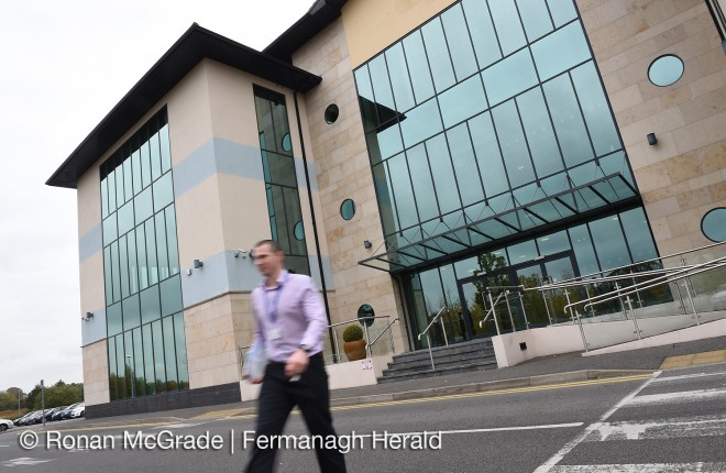 A member of staff outside the Teleperformance building, Enniskillen    RMG44