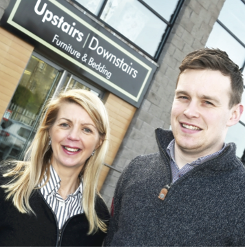 Karen Cox (assistant manager) and Ronan McNally (manager) outside the newly opened Upstairs Downstairs located at Derrychara Link, Enniskillen