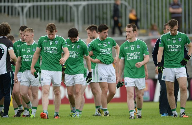 Disappointed Fermanagh players come off after the  Championship quarter-final.