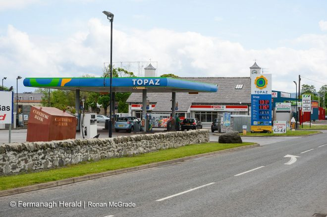 TJ Hughes' Filling Station which straddles the border