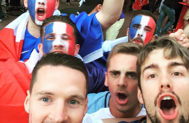 Kyle McCleery, front left, from Fermanagh pictured with French football fans in Nice during the Euros