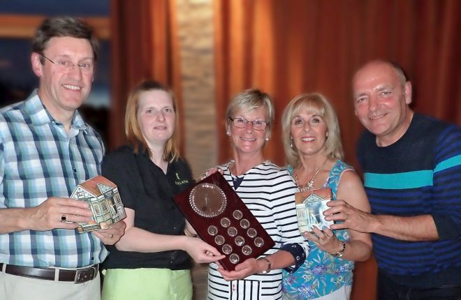 Team Members of the Surf Boarders being presented with The Tullana on the Green Summer League Shield. John Sheridan, Karen Knox sponsor, Laura McDowell, Mary McCoy - Club Captain, and David Lowe who was a finals sub. Missing from photograph are team members Joanne Daly and Brendan King.