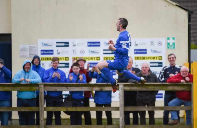 Ryan Campbell celebrates hitting the net for Ballinamallard.