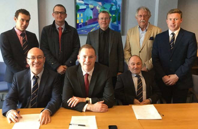 Attending a meeting with the Infrastructure Minister, Chris Hazzard (front, centre) to discuss local issues are Cllr Thomas O'Reilly (front left) and Cllr Victor Warrington (front, right). Back row, left-right are Cllrs Mark Buchanan; David Mahon; Sheamus Greene; Alex Baird and John Coyle.