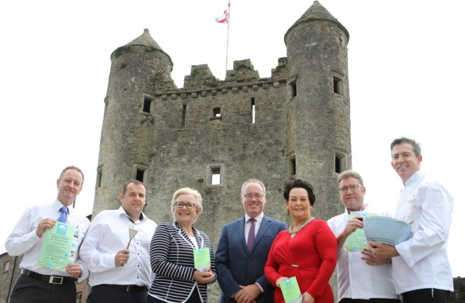 Normal Coalter, Saddlers Restaurant; Nicky Cassidy, Westville Hotel; Tanya Cathcart, Fermanagh Lakeland Tourism; John Boyle, Waterways Ireland; Councillor Mary Garrity, Chairperson of Fermanagh and Omagh District Council; Emmett Sweeney, Franco's Restaurant and Noel McMeel, Lough Erne Resort.