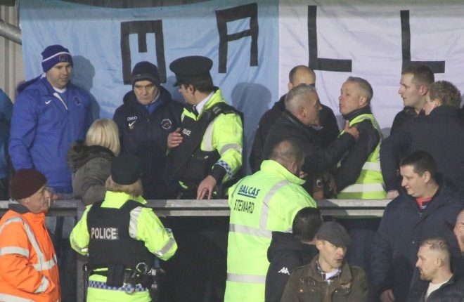 Police step in to calm matters at the Ballinamallard v Crusaders game.