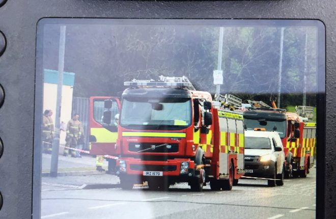Diversions in place at Loughshore Road and  emergency services at the scene.