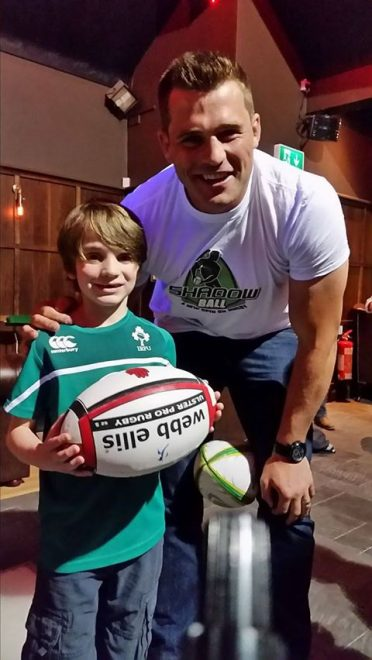 Charlie Wilson meeting rugby star CJ Stander in Enniskillen last year