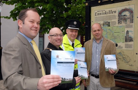 Pictured launching the G8 Summit Essential Information Newsletter are from left, Ian Proud, . . . . . . . .   Thomas O'Reilly, Chairman of Fermanagh District Council, Chief Inspector Alywin Barton and Dr. Ronan O'Hare