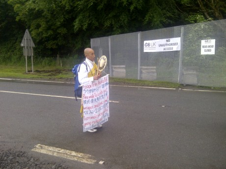 THE SCENE THIS MORNING...Toyoshige Sekiguchi, the anti-capitalist Buddhist monk who has walked from Belfast to Enniskillen to bring his campaign for nuclear disarmament to the G8 leaders