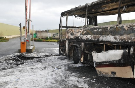 Bus burnt at Quinn Therm plant