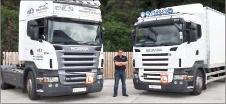 Edenmore at your service... Gabriel McKenna(Edenmore Training Services) and two Edenmore lorries that drivers can utilise to learn and up-date their driving skills. Damien Donnelly (Press Box Media)