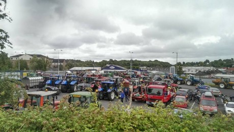 CROWDED... Vehicles congregating at Holyhill car park in Enniskillen as part of an anti-fracking rally on Sunday