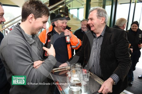 JOVIAL... Sean Quinn was in high spirits as he returned to his former HQ this morning