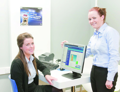 IT'S ALL BIZ...O2 Enniskillen store staff members Geralyn Heap and Julianne Mullin are on hand to offer one to one ad-
