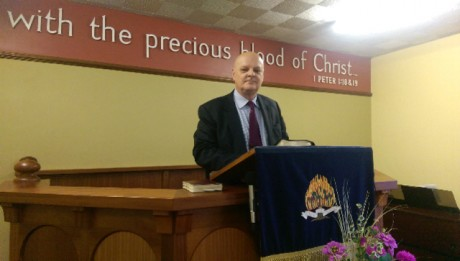 PREACHER... Reverend Ivan Foster at the pulpit in Kilskeery Free Presbyterian Church
