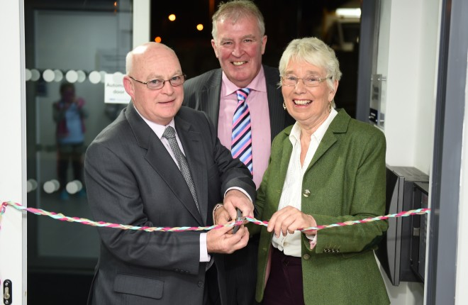 Officially opening Lakeland Community Care in Belcoo on Monday evening were, from left, Emmet McNulty (Director), Pat McGurn (CEO) and Margaret Gallagher (Director)    RMG169
