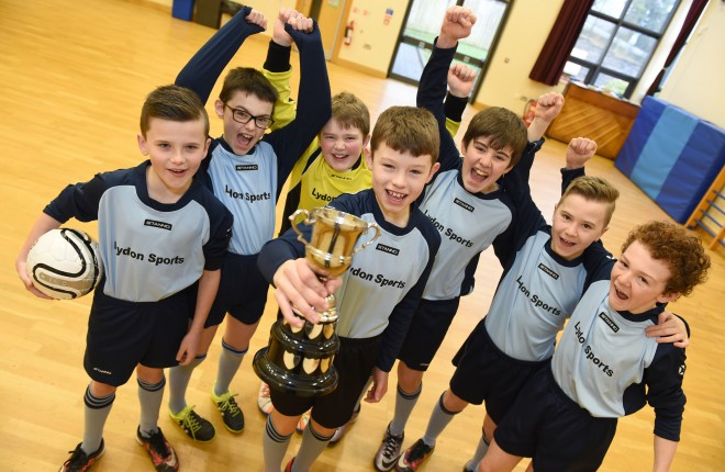 Enniskillen Integrated PS indoor soccer team celebrate their recent tournament win.