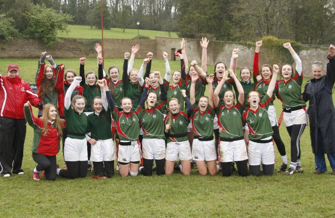 Collegiate tag rugby team celebrate securing their Ulster final place.