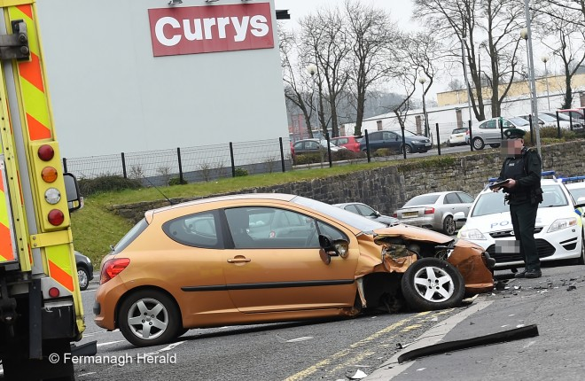 e079cf9847b0f Crash Scene. EMERGENCY services were called today after a two vehicle road  crash at Forthill Street, Enniskillen.