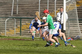 Conor McShea lines up to score Fermanagh's only goal