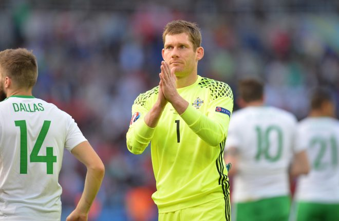 Michael McGovern salutes the fans after Northern Ireland's exit of the European Championships.