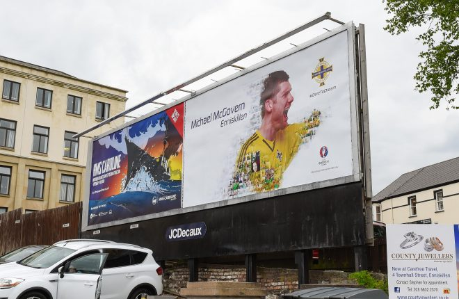 Fermanagh man and Northern Ireland goalkeeper Michael McGovern on a billboard in Enniskillen    RMG32
