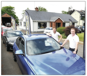 Ryan Bogue and Conor Baird pictured at their motor sales business Car Sales NI which is located on the Beltany Road, Omagh.